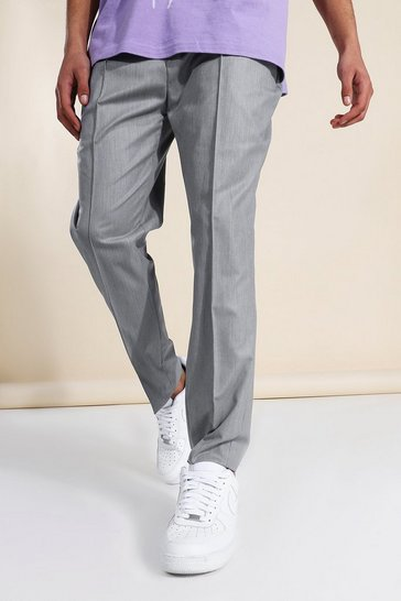 Grey Tapered Check Tailored Trouser