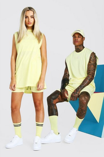 Yellow ABODE Hers Drop Armhole Tank & Cycling Short