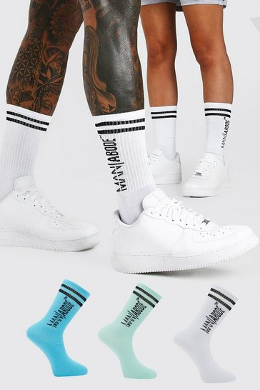 Multi 3 Pack ABODE Sock With Sports Rib