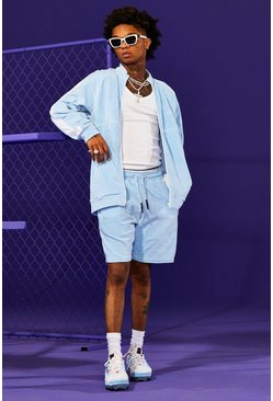 Light blue blue Man Velour Funnel Neck Short Tracksuit