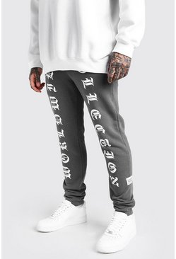Charcoal grey MAN Worldwide Print Skinny Fit Jogger