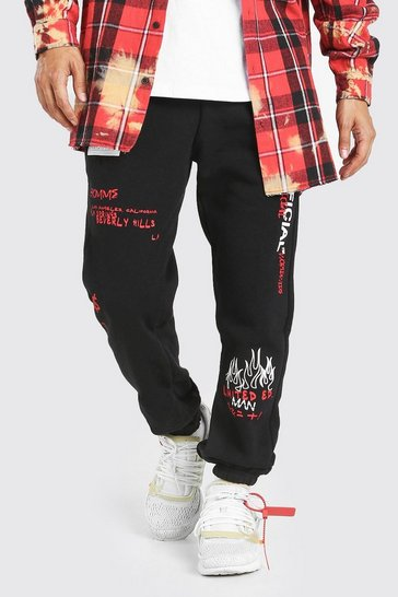 Black MAN Regular Fit Jogger With Graphic Print