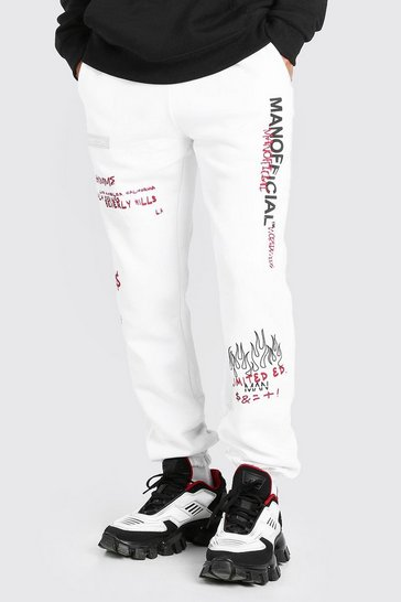White MAN Regular Fit Jogger With Graphic Print