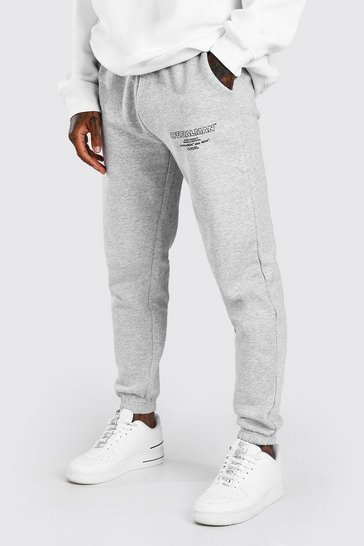 Grey marl grey Official MAN Regular Fit Jogger With Leg Print