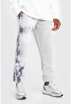 Grey marl grey Official MAN Spliced Tie Dye Woven Tab Jogger