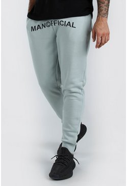 Sage green MAN Official Print Skinny Fit Jogger