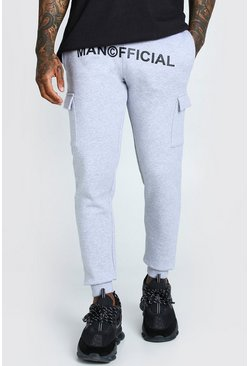 Grey marl grey Man Official Print Cargo Jogger Fit Jogger