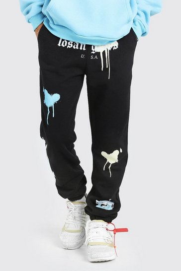 Black Los Angeles Regular Fit Jogger With Graffiti Print
