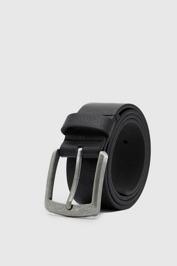 Black Casual Leather Look Jeans Belt