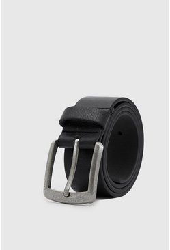 Black Casual Faux Leather Jeans Belt