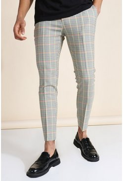 Multi Super Skinny Check Pintuck Tailored Pants