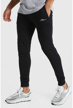 Black svart Man Signature Joggers i super skinny fit