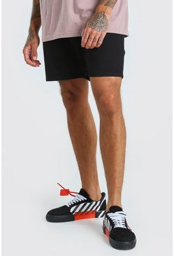 Black Skinny Fit Chino Short