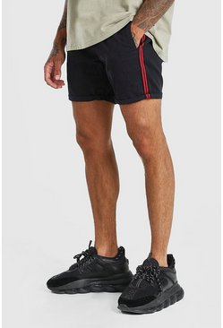 Navy Skinny Fit Chino Short With Side Tape