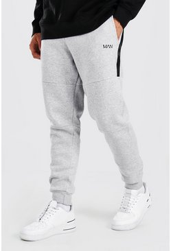 Grey marl grey Original MAN Skinny Panelled Side Zips Jogger