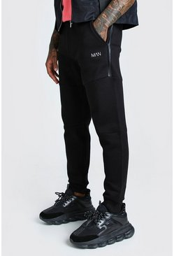 Black Original MAN Skinny Panelled Side Zips Jogger