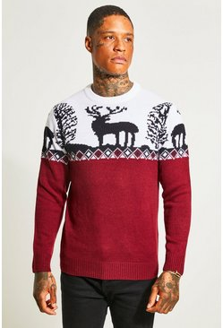 Burgundy red Fair Isle Knitted Christmas Jumper