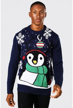 Novelty Penguin Christmas Jumper in Navy