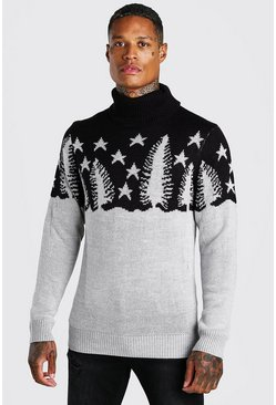 Black Muscle Fit Forest Roll Neck Christmas Jumper