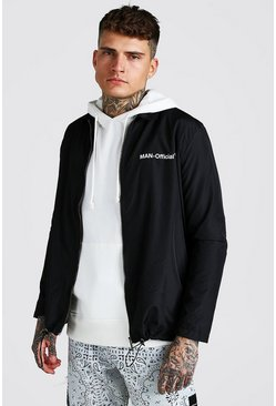 Black MAN Official Zip Through Coach Jacket
