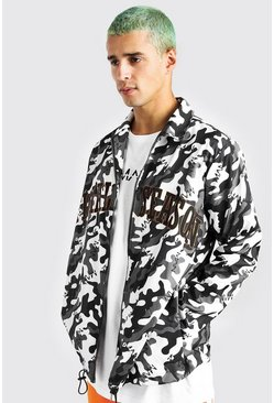 Grey Camo Zip Through Harrington