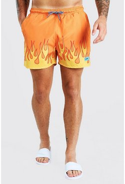 Orange MAN Official Tab Flame Hem Mid Length Swim Shorts
