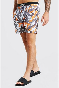 Orange MAN Camo Double Waist Band Mid Length Swim Shorts