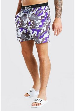 Purple MAN Camo Double Waist Band Mid Length Swim Shorts