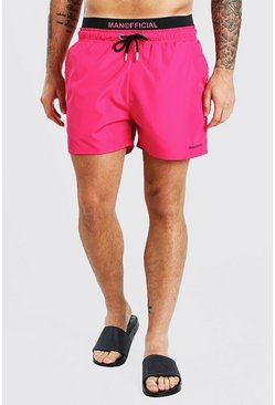 Pink rosa MAN Official Mid Length Double Waistband Swim Shorts