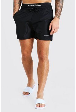 Black MAN Official Double Waistband Swim Shorts