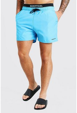 Aqua blue MAN Official Mid Length Double Waistband Swim Shorts