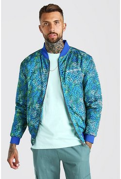 Green Animal Printed Bomber