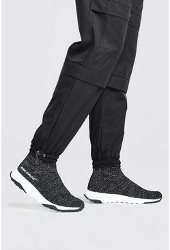 Black svart Man Reflective Knit Sock Trainer