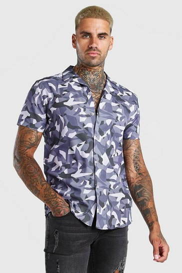 Grey Short Sleeve Revere Collar Abstract Print Shirt