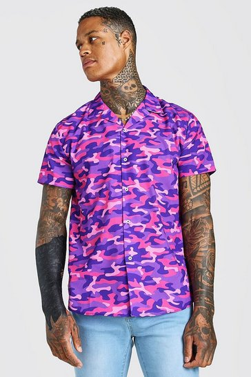 Purple MAN Short Sleeve Revere Collar Camo Shirt