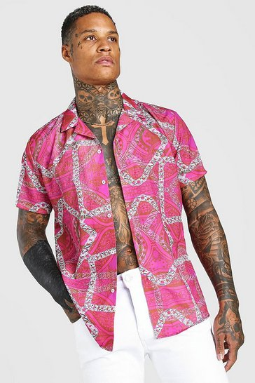 Pink Oversized Revere Collar Chain Print Shirt
