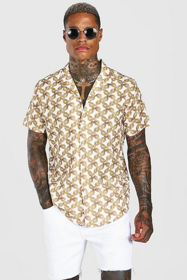 White Short Sleeve Oversized Chain Print Shirt