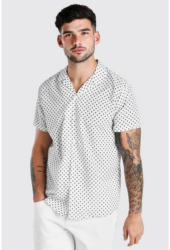 Ecru white Short Sleeve Revere Collar Polka Dot Shirt