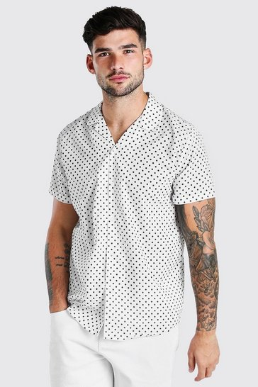Ecru Short Sleeve Revere Collar Polka Dot Shirt