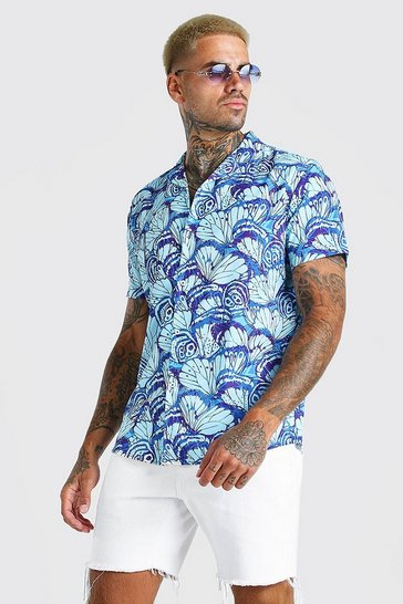 Blue Short Sleeve Oversized Butterfly Print Shirt