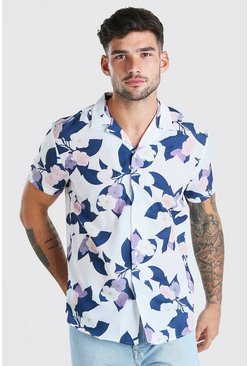 Multi Short Sleeve Revere Collar Floral Print Shirt