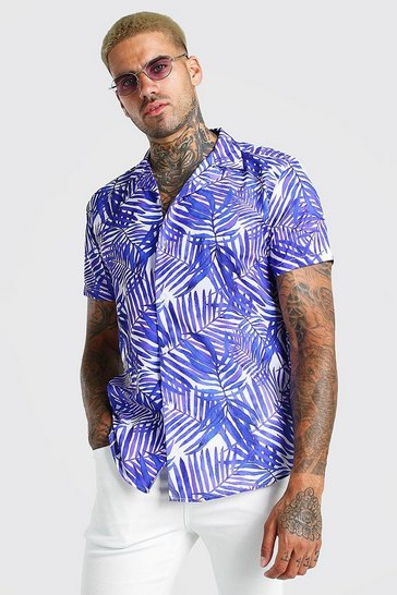 Purple Short Sleeve Revere Collar Palm Print Shirt