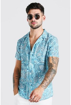 Mint green Short Sleeve Revere Collar Paisley Print Shirt