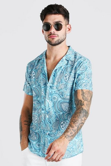 Mint Short Sleeve Revere Collar Paisley Print Shirt