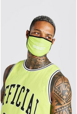 Lime green Man Official SS20 Printed Fashion Mask