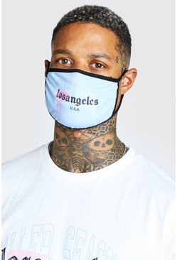 Light blue LA Graffiti Print Fashion Mask