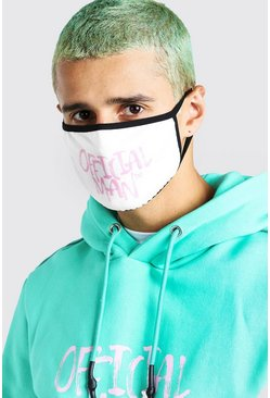 White Official Man Graffiti Print Fashion Mask