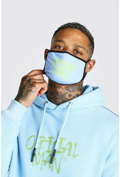 Light blue blue Official Man Graffiti Print Fashion Mask