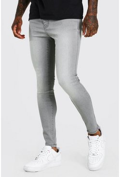Grey Spray On Skinny Fit Jeans