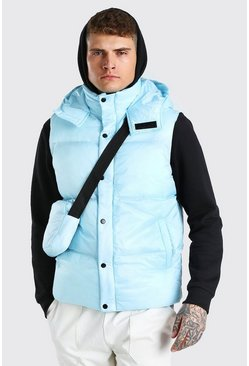 Light blue blue 2 In 1 Hooded Gilet With Detachable Body Bag
